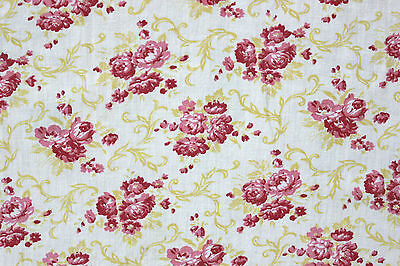 cotton fabric Vintage French printed c1920's ~ light weight soft w/ roses design