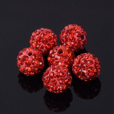 10pcs 10mm Round Clay Crystal Rhinestone Loose Beads Jewelry Making Findings Red