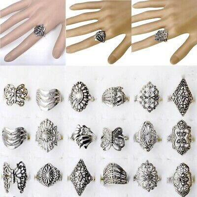 10/20/50pcs Wholesale Bulk Jewelry Lots Mixed Style Tibet Silver Vintage Rings