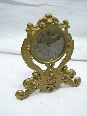 Waterbury Garniture Brass Tone Cast Metal Art Nouveau Shelf Clock Ornate Mantle