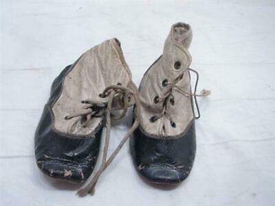 Antique Pair Victorian Leather Baby Boot Shoes Lace Up Booties Ornate