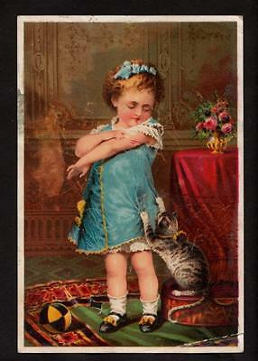 c.1890 girl with naughty cat jaynes tonic vermifuge victorian trade card
