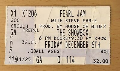 2002 Pearl Jam Showbox Seattle Concert Ticket Stub Sangue Eddie Vedder Ten 12/6