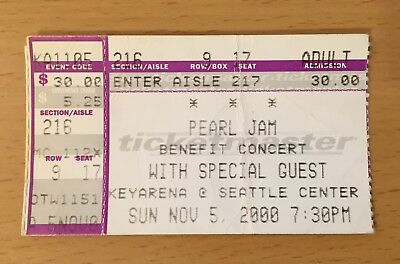 2000 Pearl Jam Rhcp Seattle Concert Ticket Stub Eddie Vedder Ten Even Flow 11/5