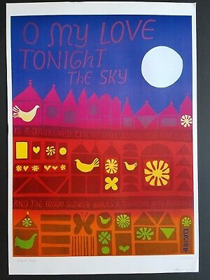 ORIGINAL MINT 1960s FLOWER POWER POSTER O MY LOVE TONIGHT VINTAGE 60s ROMANCE