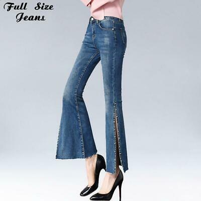 Side Split And Beading Embroidery Flare Jeans Ankle Length Capris High Street Pu