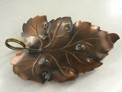Mid Century Vintage Coppercraft Guild Small Copper Leaf Nut Candy Trinket Dish