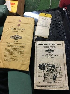 Vintage Briggs & Stratton Gas Engine Operating Instructions Parts List 6 F FB