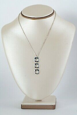 Authentic Tiffany & Co. Triple Square Cushion Drop S.S Pendant Necklace