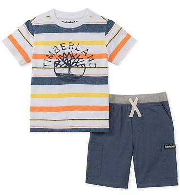 Timberland Infant Boys Striped Top & Blue Short Set Size 12M 8M 24M $50