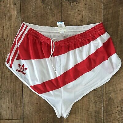 bda56e8393 Vintage Adidas Sports Shorts Glanz Marathon Sprint Retro M/L W34 D6 Red  White