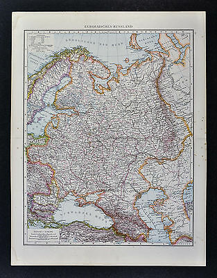 1887 Andrees Map - Russia in Europe - Moscow St. Petersburg Crimea Black Sea