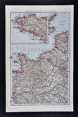 1887 Andrees Map - NW France - Brittany Le Havre Nantes Paris Amiens Orleans