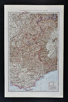 1887 Andrees Map - France & Italy Alps - French Riviera Nice Marseille Mt. Blanc
