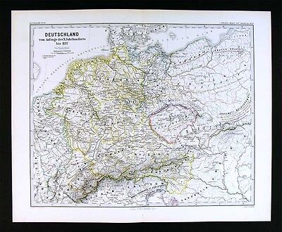 1880 Spruner Map Germany c. 1137 Austria Switzerland Holland Bohemia Alps Europe