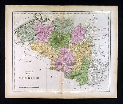 1859 Gall & Inglis Map - Belgium Luxemburg Brussels Ghent Antwerp Liege Tournay