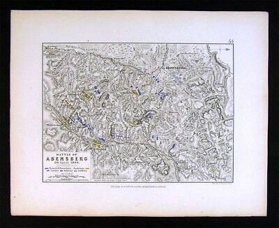 1855 Johnston Military Map - Napoleon Battle of Abensberg 1808 - Bavaria Germany