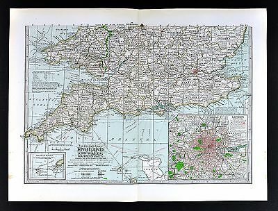 South Of England Map.1898 Century Atlas Map South England Wales London Plan Stonehinge Battlefields