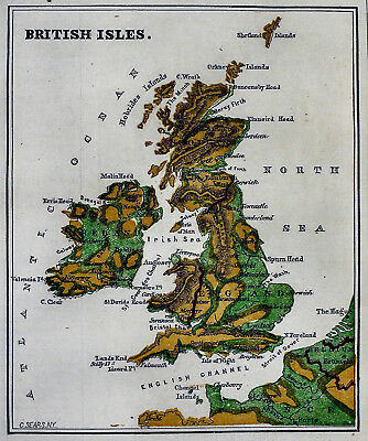 1871 Guyot Physical Map - Great Britain Ireland England Scotland Wales London UK