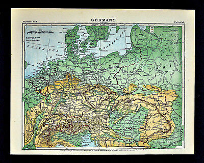 1871 Guyot Physical Map Germany Austria Hungary Holland Polland Bohemia Russia