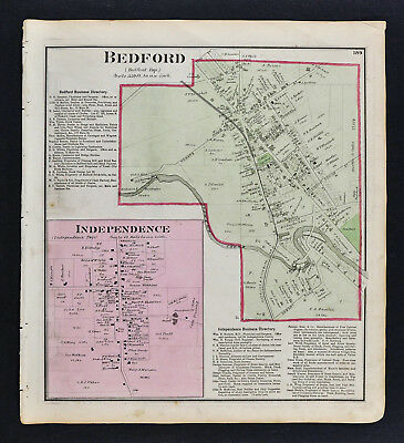 1874 Cuyahoga County Map - Bedford & Independence Plans Land Plat Cleveland Ohio