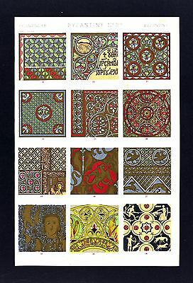 1868 Owen Jones Ornament Print Byzantine No 2* Various Manuscripts & Enamels etc