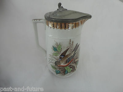 VICTORIAN ENGLISH BROWN PAINTED TRANSFER SYRUP PITCHER BIRD DECORATION lustre