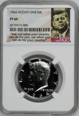 NGC-PF64 1964 ACCENT HAIR Proof Silver Kennedy Half