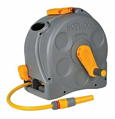 Compact Hose Garden 2in1 Reel 25m Easy Wall Mounted Enclosed Casing Hozelock Kit