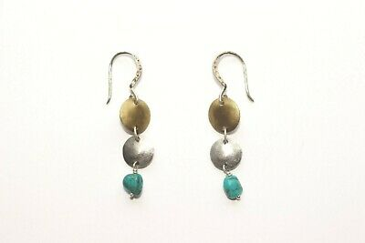 e59a61447 Silpada .925 Sterling Silver Long Brass Turquoise Drop Earrings W1817