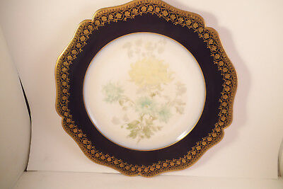 Vintage Wm William Guerin Limoges France Cobalt Blue Gold Plate Yellow Flowers