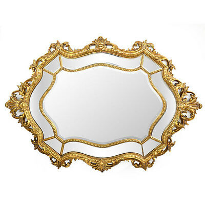 Vintage Style Queen Baroque Rococo Oval Wall Beveled Mirror Large,40'' X 57''H