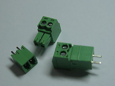 50 pcs Screw Terminal Block Connector 3.81mm 2 pin/way Green Pluggable Type New
