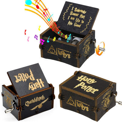 Black Harry Potter Wooden Hand Engraved Music Box Fun Interesting Toy Gift
