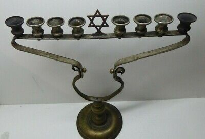 Antique Menorah Jewish Metal Candelabra Candle Stick Folding Ceremonial Travel