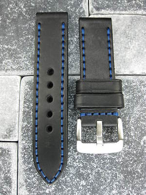 24mm NEW COW LEATHER STRAP Watch BAND Pam 1950 Black Blue Stitch