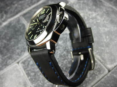 24mm NEW COW LEATHER STRAP Black Watch BAND PAM Blue Stitch 24 mm 44mm BUR