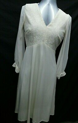 Vintage Cream 1970s Dress Ladies Zip Back Mod Swank Victorian Small V Lace Front