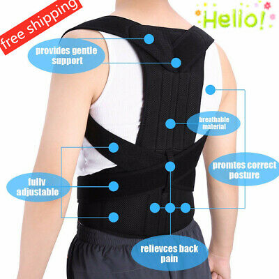US Posture Corrector Corset Support Back Shoulder Brace Belt For Men Women HP