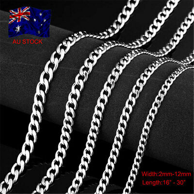 Stunning Solid 925 Sterling Silver Filled Men Classic Curb Chain 2-12mm Necklace