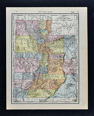 1911 McNally Map - Utah  Salt Lake City Ogden Logan Moab Mt. Henry Castle Valley