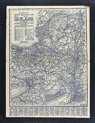 1925 Clason Auto Touring Road Map New York - NY City Buffalo Niagara Albany NYC