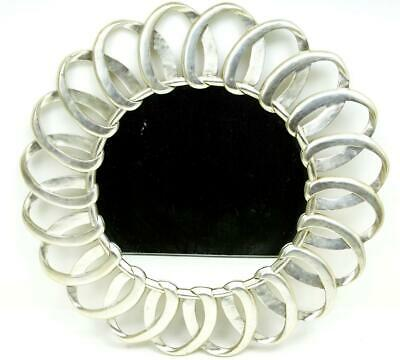Art Deco Style Silver Carved Wood Mirror
