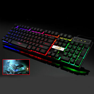 USB Wired PC/Computer Gaming Keyboard Colourful LED Metal Backlight Mechanical