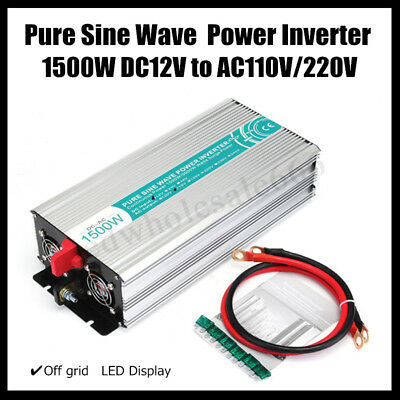 1500W Car Solar Power Inverter Pure Sine Wave DC 12V To AC 110V USB Converter US