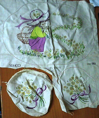 Vintage Semco Embroidery Girl & Flower Cheval Set - Design 093 - 3 Doilies