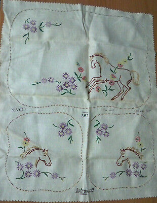 Vintage Semco Embroidery Horse Cheval Set - Design 362 - 3 Doilies