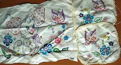 Vintage Semco Embroidery Mouse Cheval Set - Design 284 - 3 Doilies