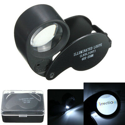 40X 25mm Magnifying Magnifier Glass Jeweler Eye Jewelry Loupe Loop LED Light