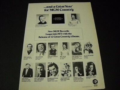 MEL TILLIS Hank Williams Jr. TOMPALL GLASER Conway Twitty 1972 PROMO POSTER AD